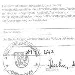 Beglaubigte Kopie bzw. offizielle Reproduktion eines persönlichen oder amtlichen Dokuments