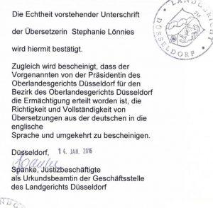 Die Vorbeglaubigung ist die Unterschriftsbeglaubigung und Bestätigung der Sachverständigenfunktion durch das Landgericht