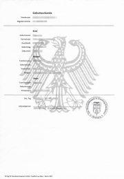 Deutsche Geburtsurkunde (Hochformat A4)