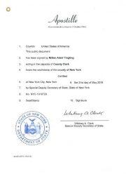 Auslandsbeglaubigung: Apostille aus dem Bundesstaat New York als Bestätigung der Echtheit einer in New York City ausgestellten Geburtsurkunde oder Heiratsurkunde