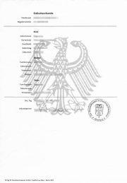 Muster: Deutsche Geburtsurkunde (Hochformat A4)